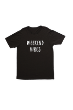 "Black kids tee with ""weekend vibes"" written on it."
