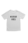 "White kids tee with ""weekend vibes"" written on it."