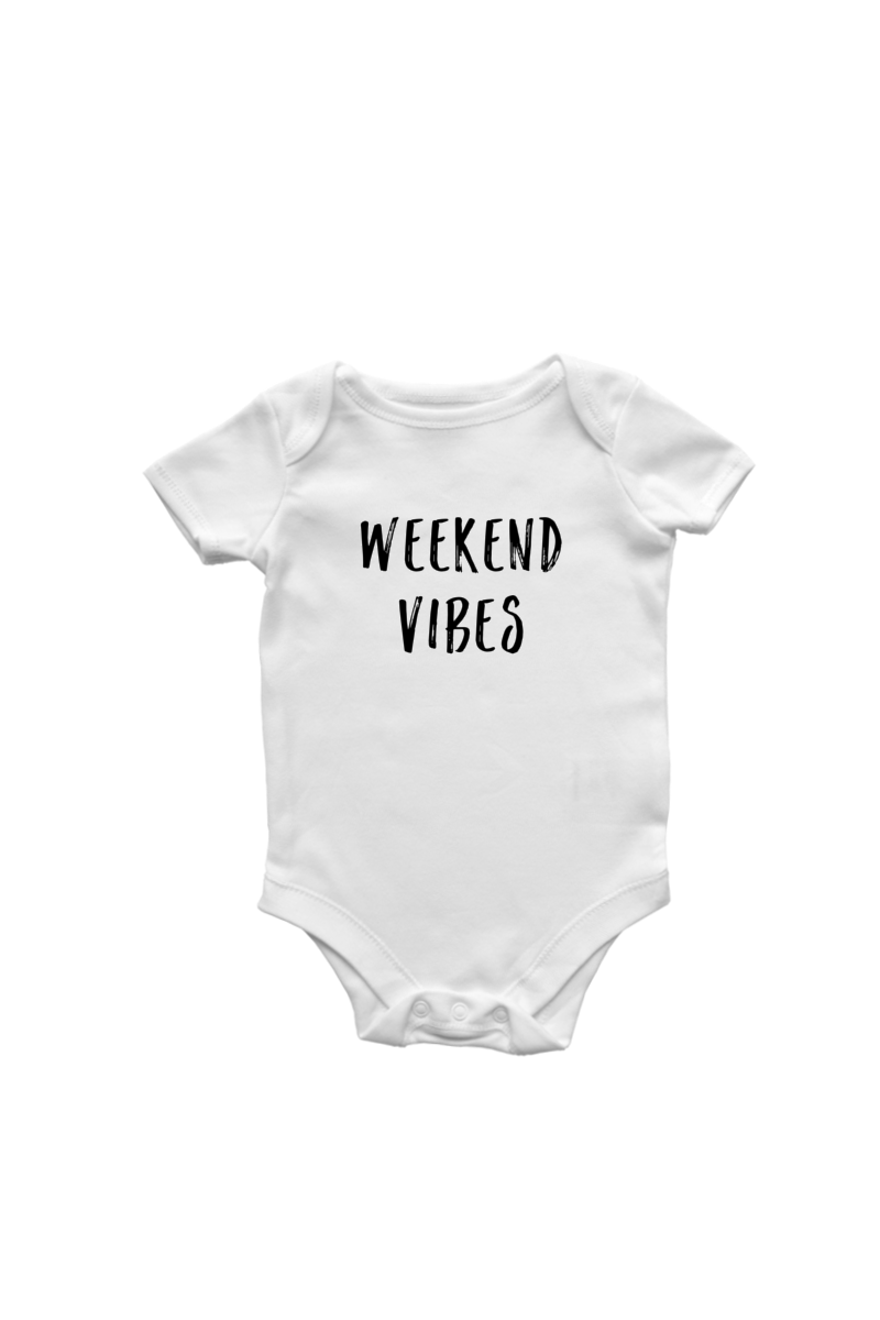 "White short sleeve bodysuit with the words ""weekend vibes"" written on it in an uppercase marker font"