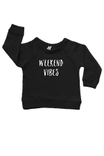 "A black sweatshirt with ""weekend vibes"" written on it."