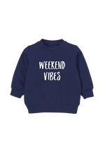 "A navy kids sweatshirt that says ""weekend vibes."""