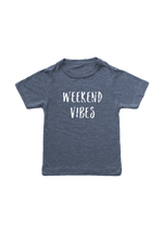 "Navy kids tee with ""weekend vibes"" written on it."