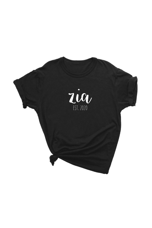 "A black t-shirt with ""zia est. 2020"" written on it."