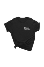 "A black t-shirt that says ""mama."""