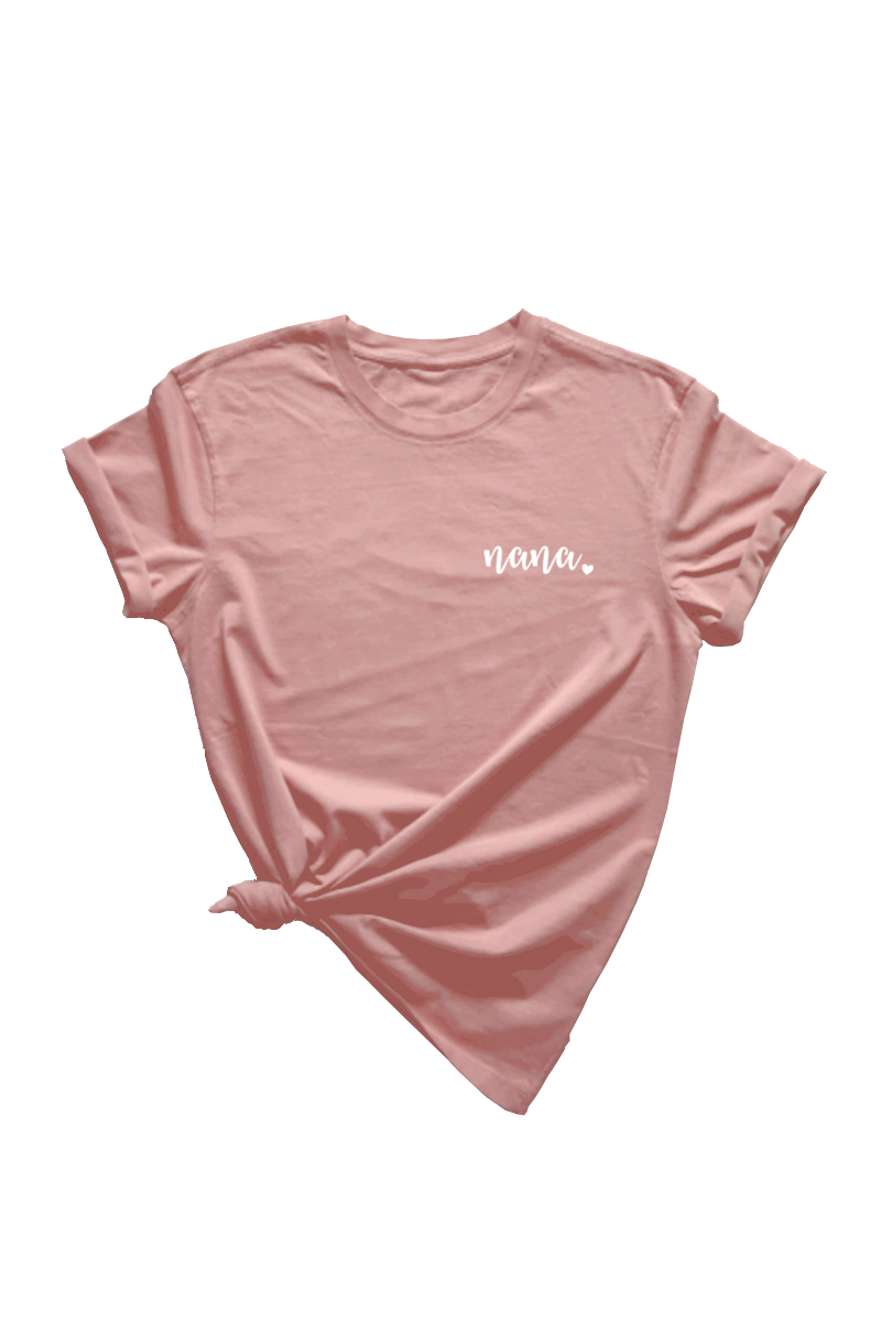 "A pink t-shirt that says ""nana."""