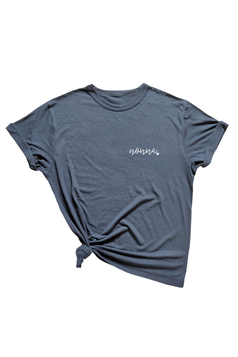 "A navy t-shirt that says ""nonna."""