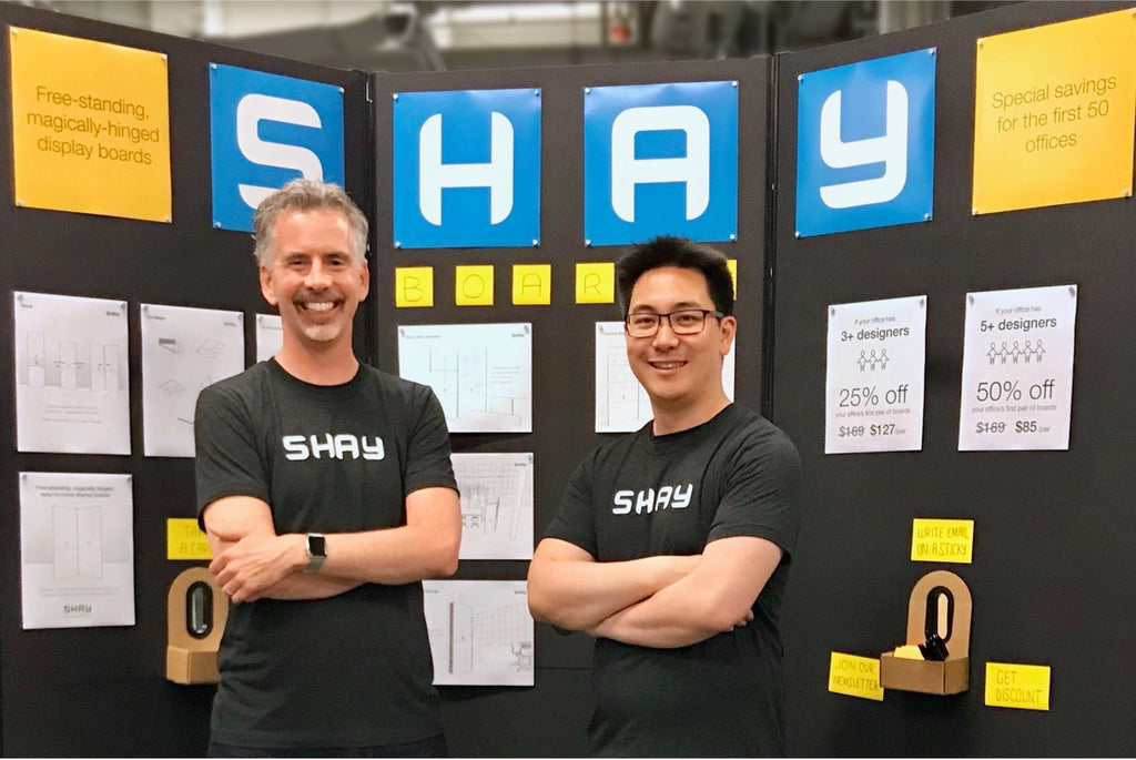3 Shay boards behind Shay board's creator Jeff Southard (left)