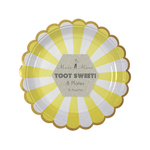 Toot Sweet Yellow Stripe Plates