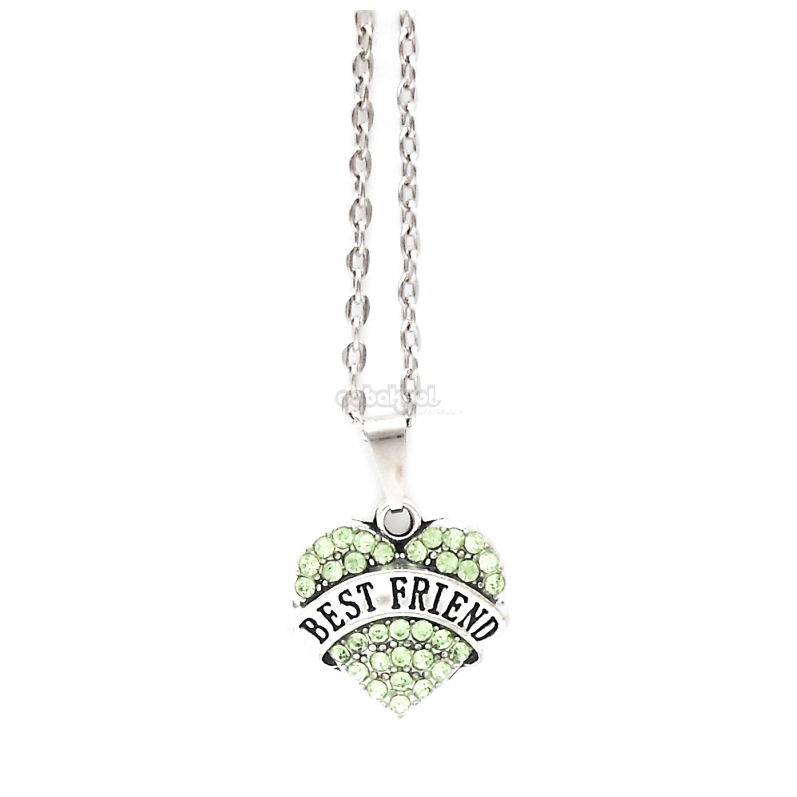 Best Friend / Heart Diamante Necklace Available In A Variety Of Colours Lime Green
