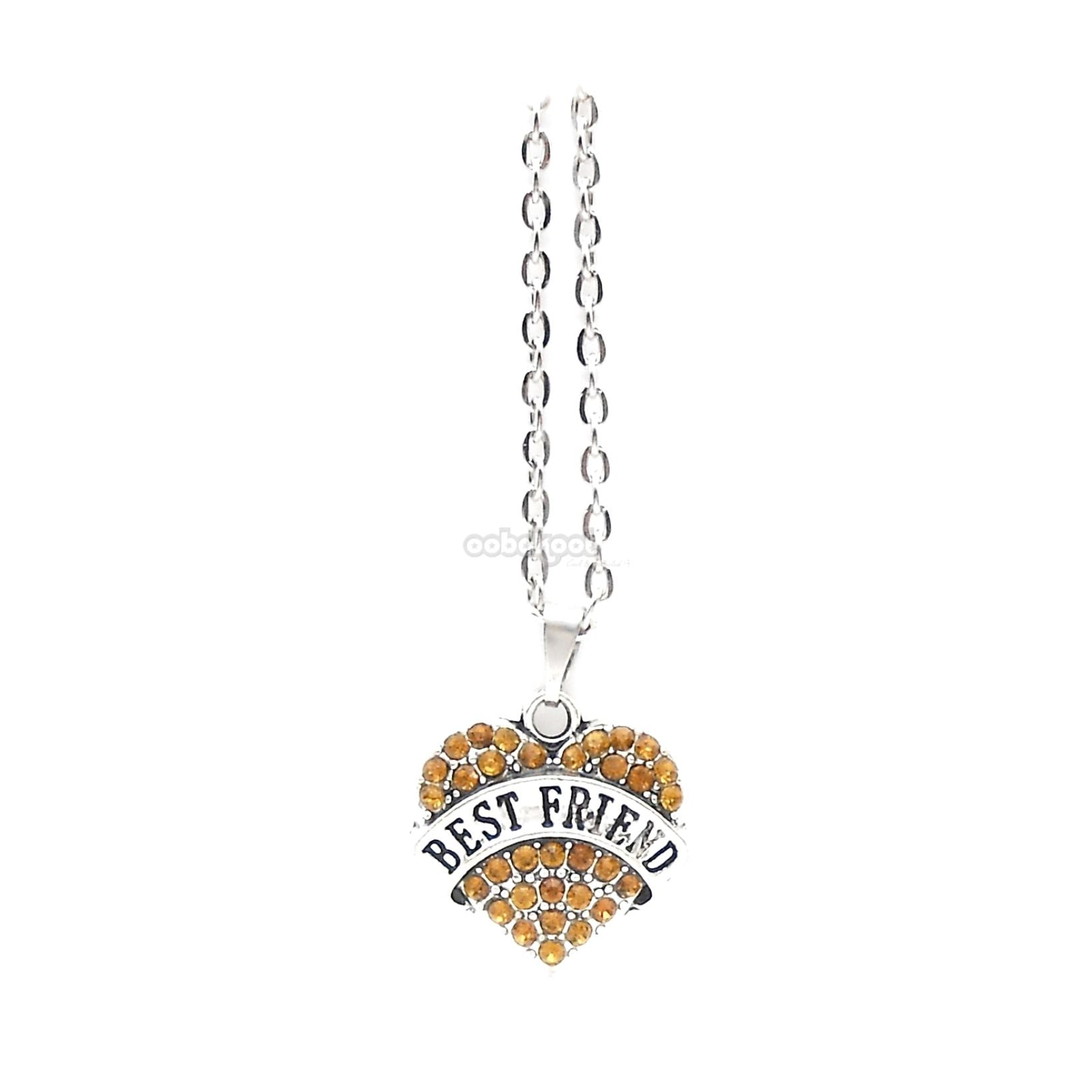 Best Friend / Heart Diamante Necklace Available In A Variety Of Colours Orange
