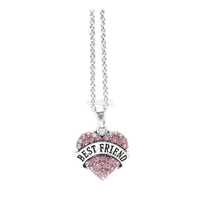 Best Friend / Heart Diamante Necklace Available In A Variety Of Colours Pink