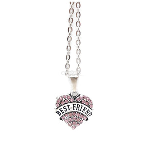Best Friend / Heart Diamante Necklace Available In A Variety Of Colours Purple