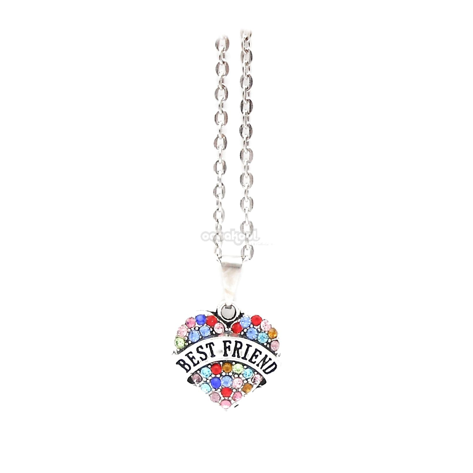 Best Friend / Heart Diamante Necklace Available In A Variety Of Colours Rainbow