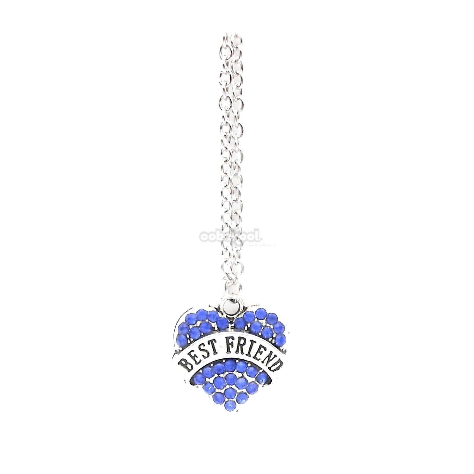 Best Friend / Heart Diamante Necklace Available In A Variety Of Colours Royal Blue