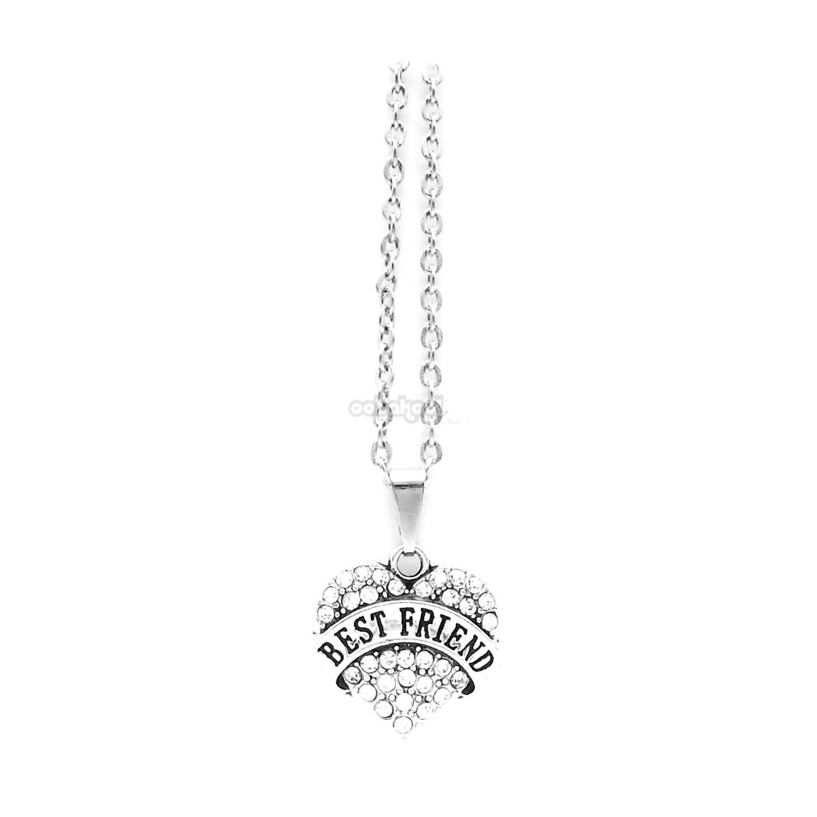 Best Friend / Heart Diamante Necklace Available In A Variety Of Colours Silver