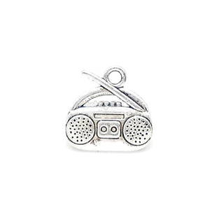 Boombox / Cassette Player Silver Alloy Charm