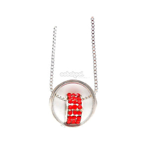 Circle Of Love / Red Diamante Silver Alloy Necklace