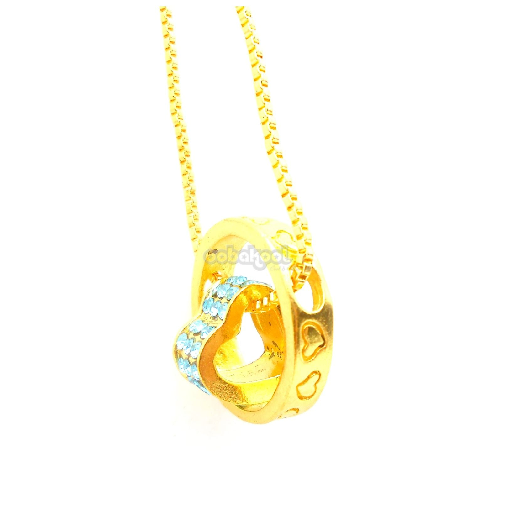 Circle Of Love / Sky Blue Diamante Gold Alloy Necklace