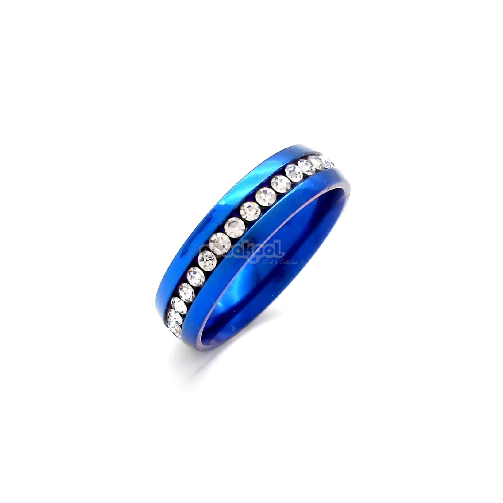 Commitment Ring / Midnight Blue With Diamante Inlay Alloy Steel Size 10