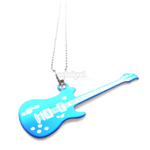Electric Blue Guitar / Brushed Stainless Steel Necklace