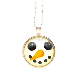 Happy Snowman / Glow-In-The-Dark Tibetan Silver And Glass Necklace