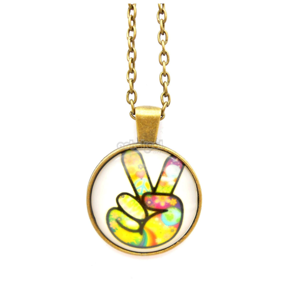 Hippie / Peace Sign Bronze And Glass Necklace