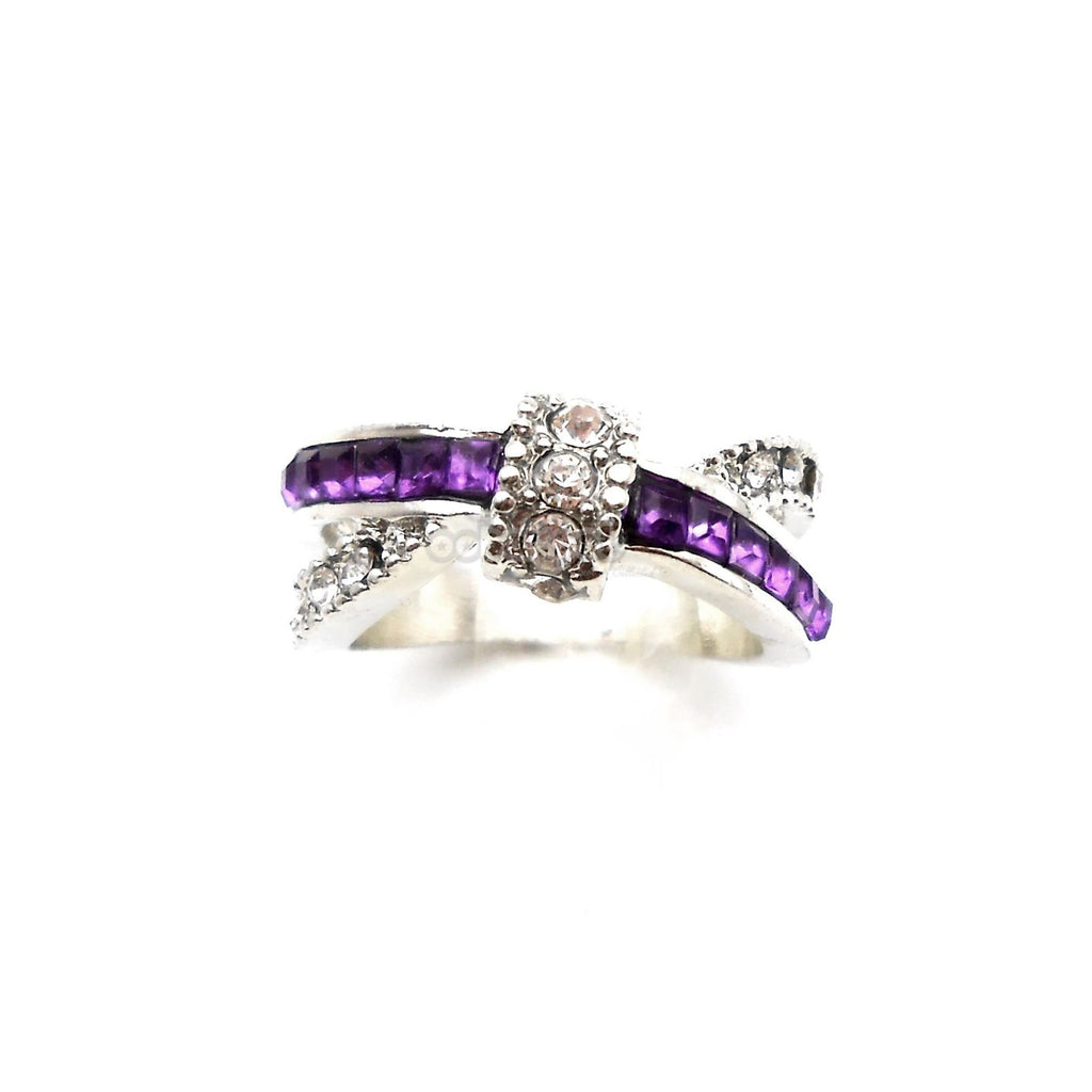 Infinity / Purple & Diamante Cross Over Silver Alloy Ring