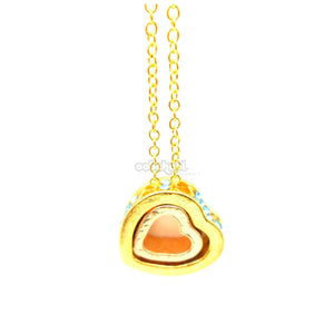 Love Heart / Turquoise Diamante Gold Alloy Necklace