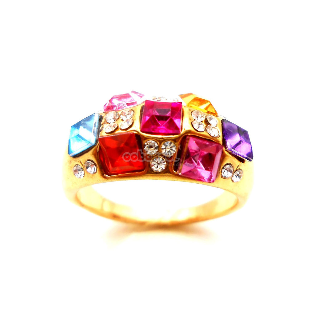 Rainbow Cluster / Diamante And Gold Alloy Ring