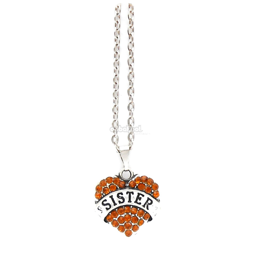 Sister / Heart Diamante Necklace Available In A Variety Of Colours Orange