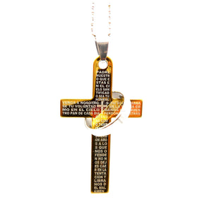 The Lords Pray / Christian Cross Spanish & Commitment Ring Stainless Steel Necklace Gold