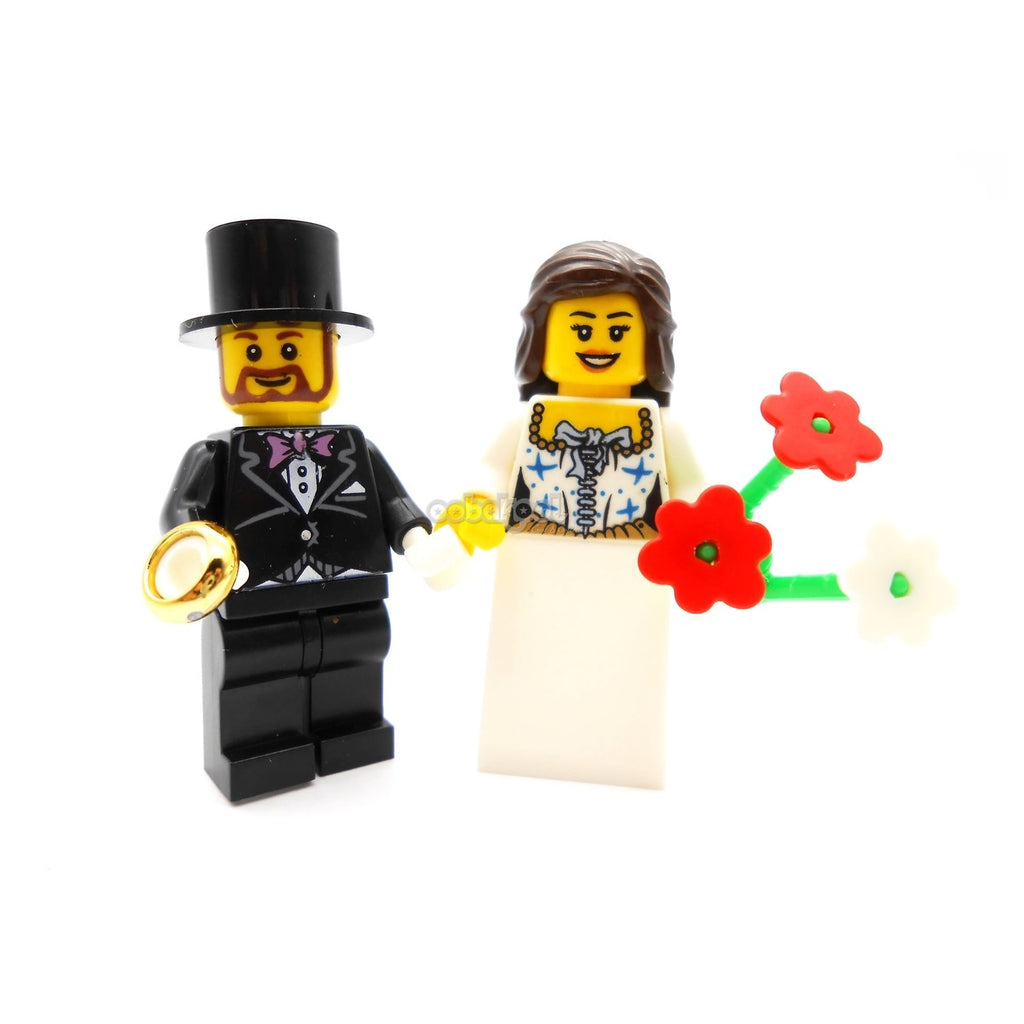 The Wedding Couple / Brunette Bride And Groom 2 X Oobakool Minifigure Set
