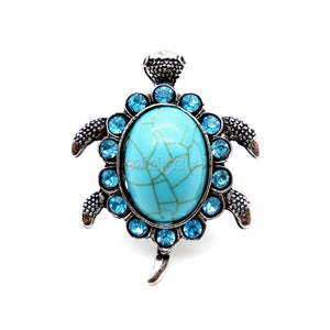 Tibetan Sliver Tortoise Ring / Turquoise Stone With Blue Diamante Adjustable Size