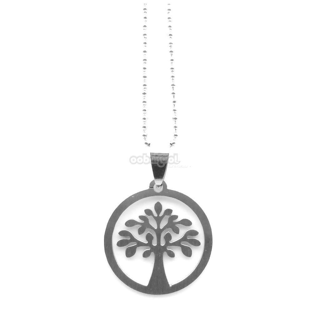 Tree Of Life / Brushed Stainless Steel Necklace