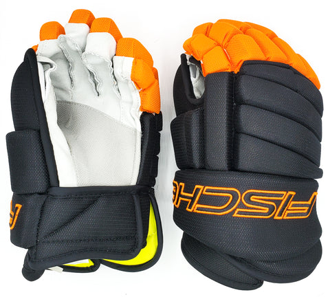 Black/Orange Hockey Gloves