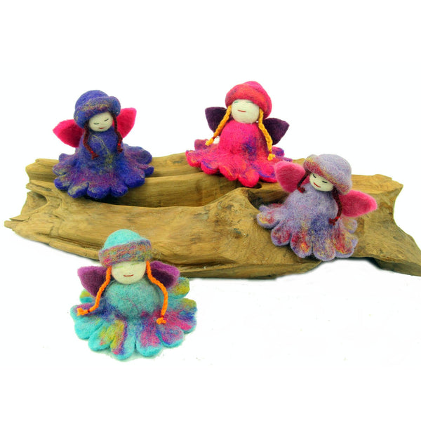 Hand Felted Colorful Flower Fairies - Set of 4 Handmade and Fair Trade