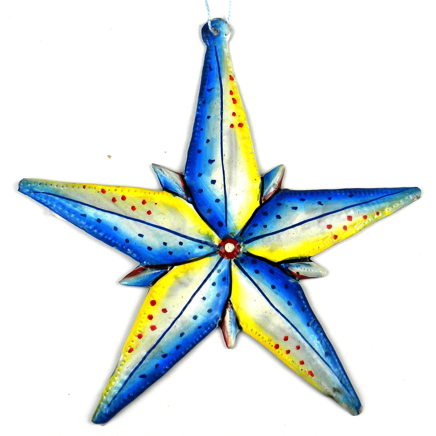 Hand Painted Bright Steel Drum Ornament - Croix des Bouquets (H)
