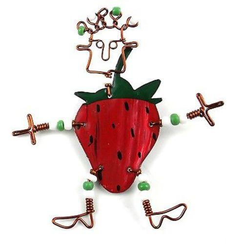 Dancing Girl Strawberry Pin Handmade and Fair Trade