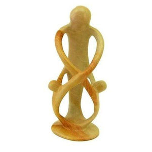 Natural 8-inch Tall Soapstone Family Sculpture - 1 Parent 2 Children Handmade and Fair Trade