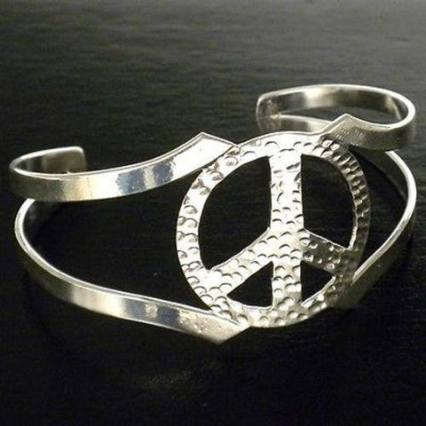 Silver Overlay Hammered Peace Cuff Bracelet Handmade and Fair Trade