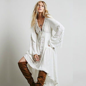 Folk Embroidery Long Sleeve Dress