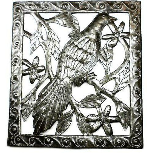 Single Bird Metal Wall Art - 11 by 12 Inches Handmade and Fair Trade