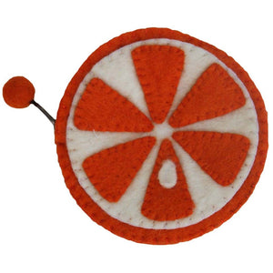 Handmade Felt Fruit Coin Purse - Orange - Global Groove (P)
