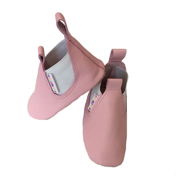 Baby pink soft leather boots side