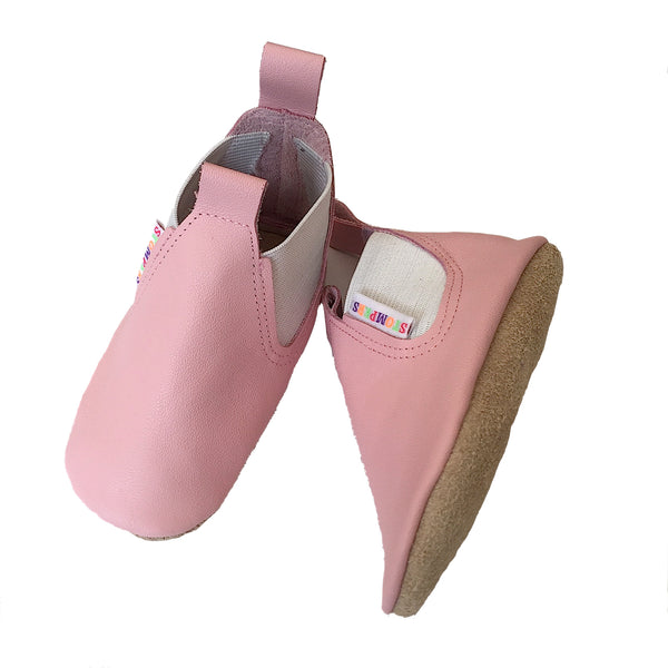 Baby pink soft leather boots sole
