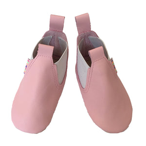 Baby pink soft leather boots