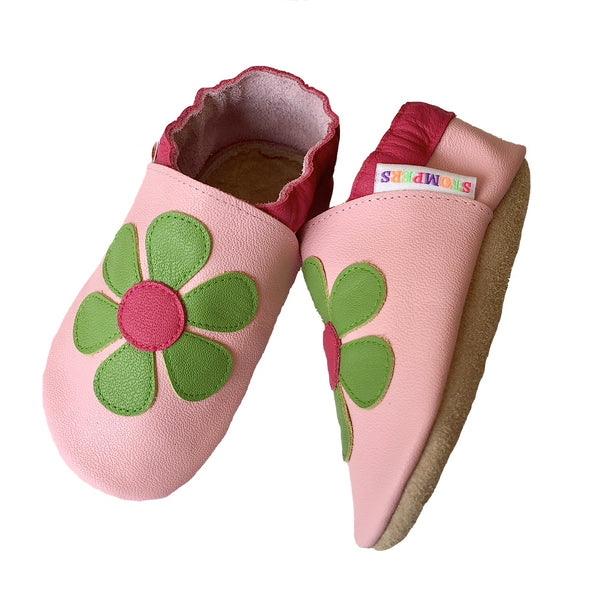 Baby pink lime daisy shoes sole