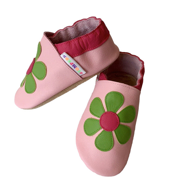 Baby pink lime daisy shoes side