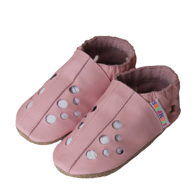 Baby pink leather sandals