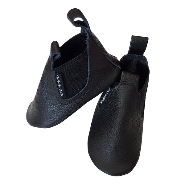 Black leather toddler boots side